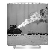 Flame-throwing Tank Shower Curtain