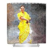 Flamenco Dancer In Yellow Shower Curtain