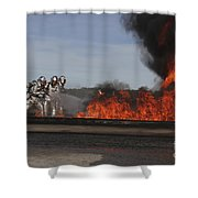 Flames Billow Out Of The Burn Pit Shower Curtain