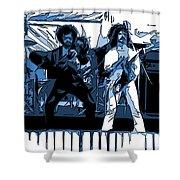 Flaming Blue Telepaths 2 Shower Curtain
