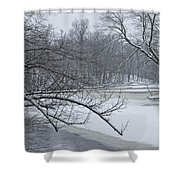 Flat River In Winter No.026 Shower Curtain