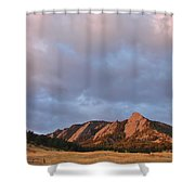 Flatirons At Chautauqua In Early Morning Shower Curtain
