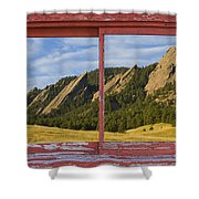 Flatirons Boulder Colorado Red Barn Picture Window Frame Photos  Shower Curtain
