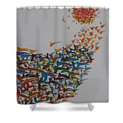 Fleet Of Birds Shower Curtain