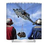 Flight Deck Personnel Wait For Supplies Shower Curtain
