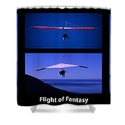 Flight Of Fantasy With Caption Shower Curtain