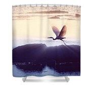 Flight Of The Egret V1 Shower Curtain