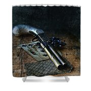 Flint Lock Pistol And Playing Cards Shower Curtain