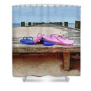 Flip Flops On The Dock Shower Curtain