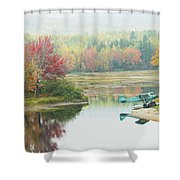 Float Plane On Pond Near Golden Road Maine Photo Poster Print Shower Curtain