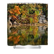 Floating Leaves In Tranquility Shower Curtain