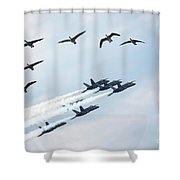 Flock Of Canada Geese At Air Show Shower Curtain