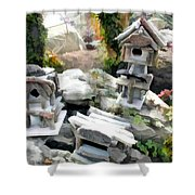 Flock Of Rustic Birdhouses Shower Curtain