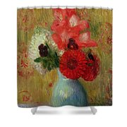 Floral Arrangement In Green Vase Shower Curtain