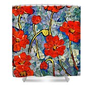 Floral Art - Red Poppies Shower Curtain