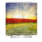Floral Field On Sunset Shower Curtain