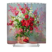 Floral In Pink Shower Curtain