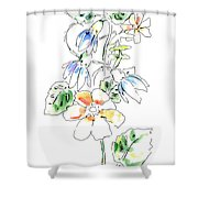 Floral Watercolor Paintings 4 Shower Curtain