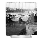 Florence Italy - Vecchio Bridge And River Arno Shower Curtain