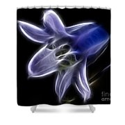 Flower - Ghostly Blue - Abstract Shower Curtain