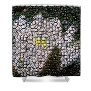 Flower Bottle Cap Mosaic Shower Curtain by Paul Van Scott