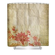 Flower Pattern On Old Paper Shower Curtain