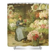 Flower Seller In Front Of The Madeleine Church Shower Curtain