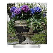 Flowerpot With Hydrangea Shower Curtain