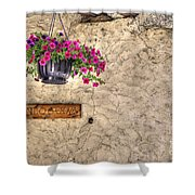 Flowers And A Signboard Shower Curtain