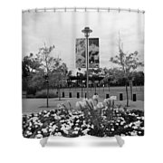 Flowers At Citi Field In Black And White Shower Curtain by Rob Hans