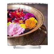 Flowers Floating In A Bowl Filled With Shower Curtain