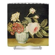 Flowers In A Delft Jar  Shower Curtain by Alexander Marshal
