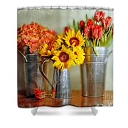 Flowers In Cans Shower Curtain