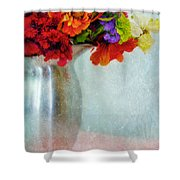 Flowers In Metal Pitcher Shower Curtain