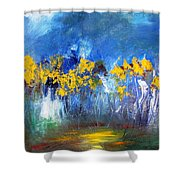 Flowers Of Maze In Blue Shower Curtain