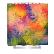 Flowers On Color Shower Curtain
