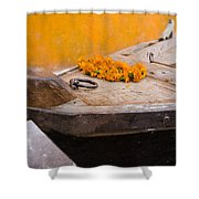 Flowers On Top Of Wooden Canoe Shower Curtain