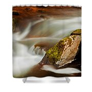 Flowing River Blurred Through Rocks Shower Curtain