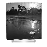 Flowing Water At Sunrise Shower Curtain