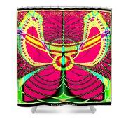 Fluorescent Butterfly Fractal 68 Shower Curtain
