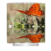 Fluttering Reflections - Butterfly Shower Curtain