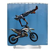Flying High Motorcyle Tricks Shower Curtain