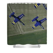 Flying With The Aero L-39 Albatros Shower Curtain by Daniel Karlsson
