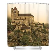 Fog Descending On St Cirq Lapopie In Sepia Shower Curtain