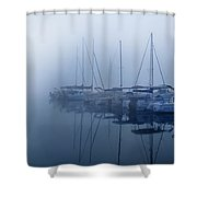 Fog Hides Sun From Sailboats Shower Curtain