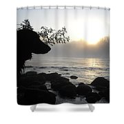 Fog On The Rocks Sunrise Shower Curtain