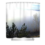 Fog On Wood Lake Shower Curtain