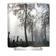 Foggy Cemetery Shower Curtain