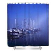 Foggy Morning At A Marina Shower Curtain