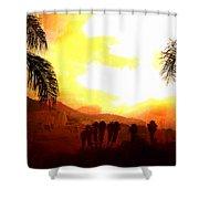 Foggy Palms Shower Curtain